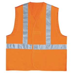 Fluorescerend veiligheidsvest met horizontale en verticale band oranje - maat XL