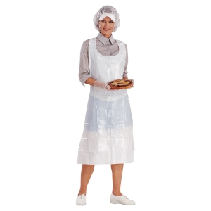 Disposable apron polyethylene white - pack of 100