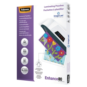 Fellowes laminating pouch with adhesive back 160mi A4 - box of 100