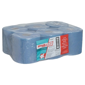 Pack de 6 bobinas industriales de papel 1 capa WYPALL 199m color azul