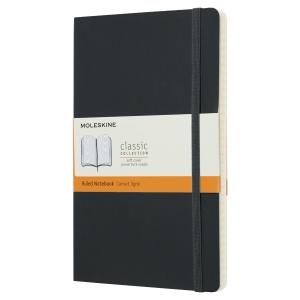 Carnet Moleskine - 13 x 21 cm - couverture souple - 192 pages lignées - noir