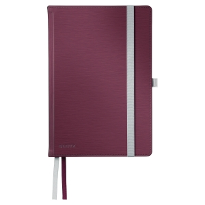 LEITZ STYLE NOTEBOOK HARD COVER A5 SQUARED 5X5 RED