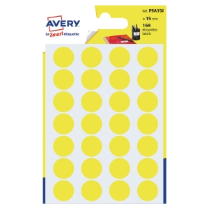 PK168 AVERY PSA15J DOT LAB DIA15MM YELLOW