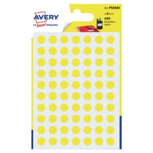 PK490 AVERY PSA08J DOT LABEL DIA8MM YELLOW