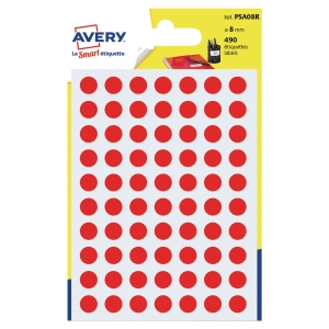 Avery PSA08R coloured marking dots 8 mm red - pack of 490