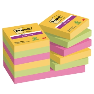 3M Post-it® 621 Super Sticky öntap.j.tömb 47,6x47,6mm, színes, 12 tömb/90 lap