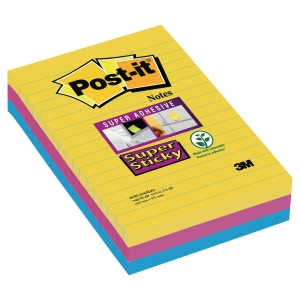 Notes lignées Post-it Super Sticky - 101 x 152 mm - Rio - 3 x 90 feuilles
