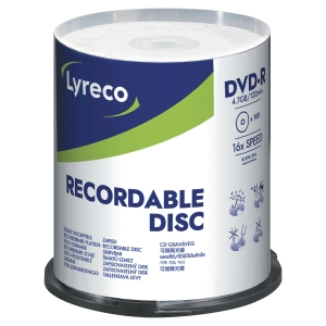 DVD-R 4.7 GB 120 MIN LYRECO - CONF.SPINDLE DA 100