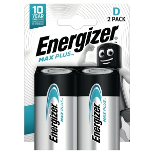 Energizer Alkaline Max Plus D Battery - Pack of 2