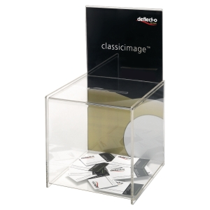 Deflecto suggestiebox met display transparant