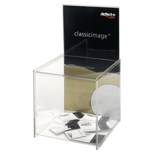 Aktionsbox Deflecto mit Infoschild, transparent