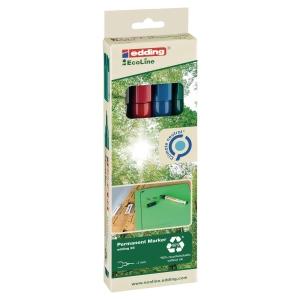 Edding 25 Ecoline marqueur permanent pointe ogive 1mm assorti - paquet de 4