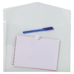 Pack 5 envelopes A4 polipropileno fecho textil transparente EXACOMPTA