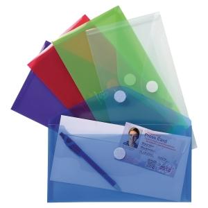 Exacompta envelophoezen PP transparant assorti kleuren - pak van 5
