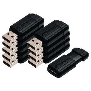Pack de 10 Memórias flash VERBATIM USB 2.0 de 8 Gb cor preto