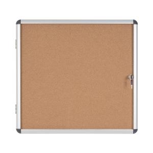 Vitrina para interior BI-OFFICE de vidro com fundo de corcho para 6 folhas A4