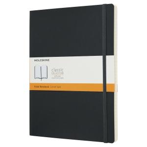 Carnet Moleskine - 19 x 25 cm - couverture souple - 192 pages lignées - noir