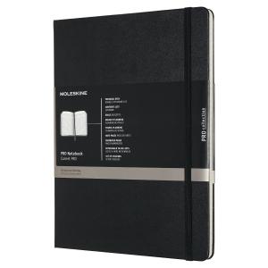 Carnet Moleskine Pro - 19 x 25 cm - couverture rigide - 192 pages lignées - noir