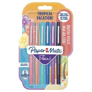 Feutre Paper Mate Flair - pointe moyenne - coloris tropical - pochette de 6