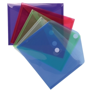 Exacompta document pockets A5 with velcro assorted colours - pack of 5