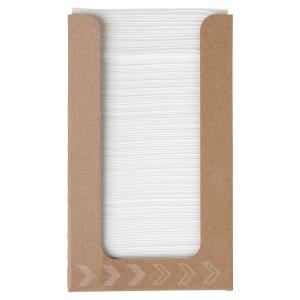 Pack de 100 servilletas blancas en dispensador. Dimensiones 200x 200