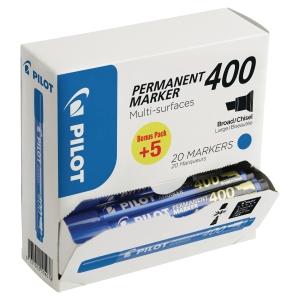 Valuepack 15+5 - Pilot SCA 400 permanente marker beitelpunt blauw