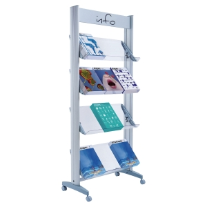 Paperflow Mobile Display 12 Compartments Aluminium