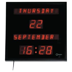 Digital LED-Wanduhr Orium, mit Datum, schwarz/rot