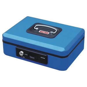 CASH BOX W/AUTO BUTTON 200X160X90MM BLU
