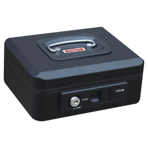 CASH BOX W/AUTO BUTTON 300X240X90MM BLK
