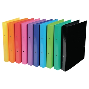 IDERAMA RING BINDER, 2 RINGS, 40MM SPINE, 32X26CM - ASSORTED COLOURS, PACK OF 10