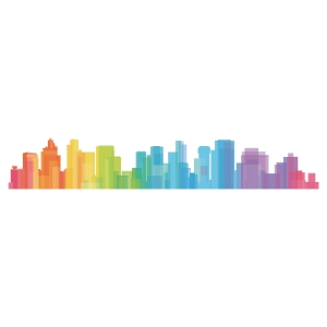 Cep decoration sticker with colourful skyline