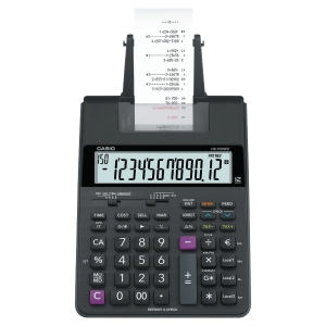 Strimmelregner Casio HR-150RCE, sort, 12 cifre