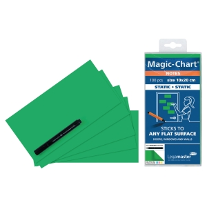 NOTES LEGAMASTER MAGIC-CHART 10X20 GRØNN PAKKE A 100 STK