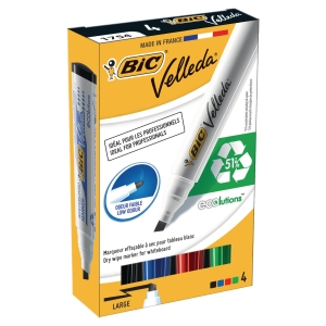 Bic Velleda 1754/51 non-permanent marker chisel tip assorted colours - box of 4