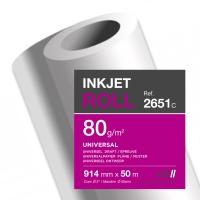 CONF. 2 ROTOLI CARTA PLOTTER INKJET CLAIREFONTAINE 2651 80 G/MQ 91,4 CM x 50 M