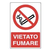 CARTELLO SEGNALETICO DI DIVIETO VERTICALE   VIETATO FUMARE