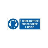 CARTELLO SEGNALETICO DI OBBLIGO   E  OBBLIGATORIO PROTEGGERE L UDITO