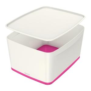 Contenitore con coperchio Leitz MyBox® Large - Bianco e Fucsia
