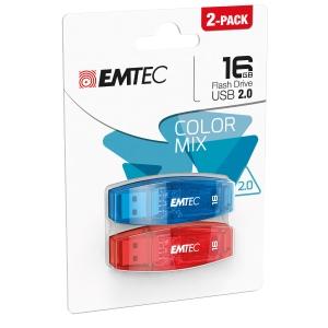 Memoria USB Emtec Color Mix C410 16 GB nero - conf. 2