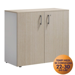 ARMADIO 2 ANTE BATTENTI BASSO LEGOS MECO OFFICE LINEA WOOD ROVERE/ARGENTO