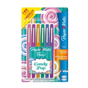 PENNARELLO PUNTA MEDIA PAPERMATE NYLON FLAIR COLORI CANDY POP CONF. 6
