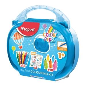 Valigetta scuola Maped 12 pastelli a cera +10 pennarelli Jumbo colori assortiti