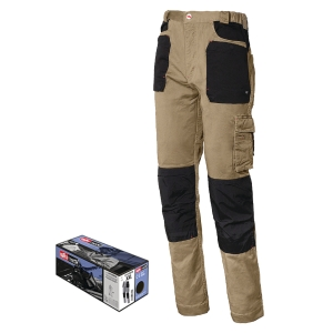 Pantaloni Issa Line Stretch 8730B sabbia/nero tg M