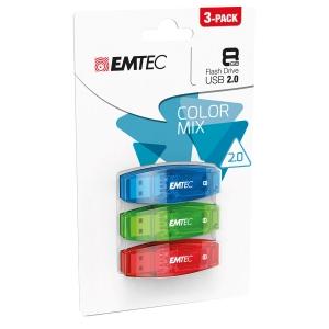 Memoria USB Emtec Color Mix C410 8 GB - conf. 3