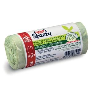 Sacchi raccolta umido Mater-bi Spazzy Domopak 20 L trasparente - conf. 15