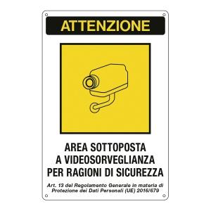 CARTELLO SEGNALETICO  AREA SOTTOPOSTA A VIDEOSORVEGLIANZA..  12X18CM