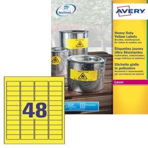 /Etichette in poliestere giallo permanente Avery 45,7x21,2mm - conf. 5 da 960