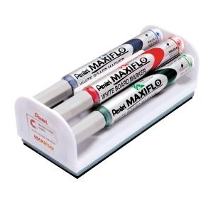 KIT 4 MARCATORI PER LAVAGNE CANC. PENTEL MAXIFLO COL.ASS. + CANCELLINO MAGNETICO