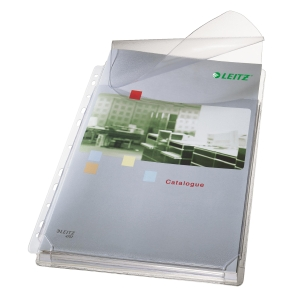 Buste perforate Leitz a soffietto con lembo in PVC antiriflesso - Conf. 5